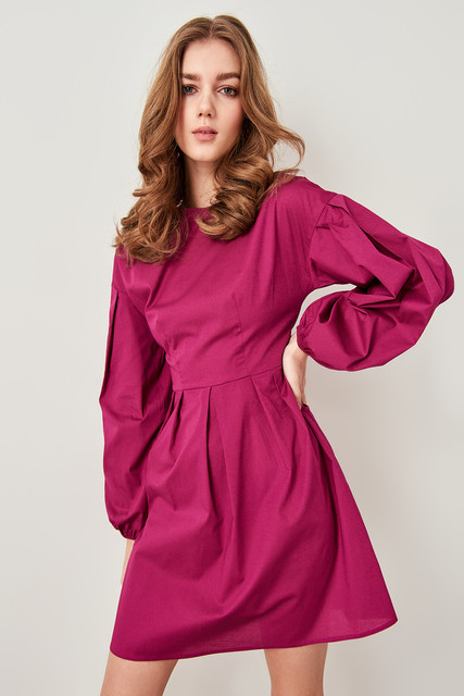 0cc41ae058a87 US $14.08 49% OFF|Aliexpress.com : Buy Trendyol Plum Bubble Sleeve Dress  TWOSS19XB0090 from Reliable Dresses suppliers on Trendyol Women's Store
