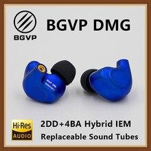 BGVP DMG HIFI наушники 2DD + 4BA гибридная IEM технология внутриканальные типы монитор алюминиевый сплав Спорт с кабель MMCX три выпускных отверстия
