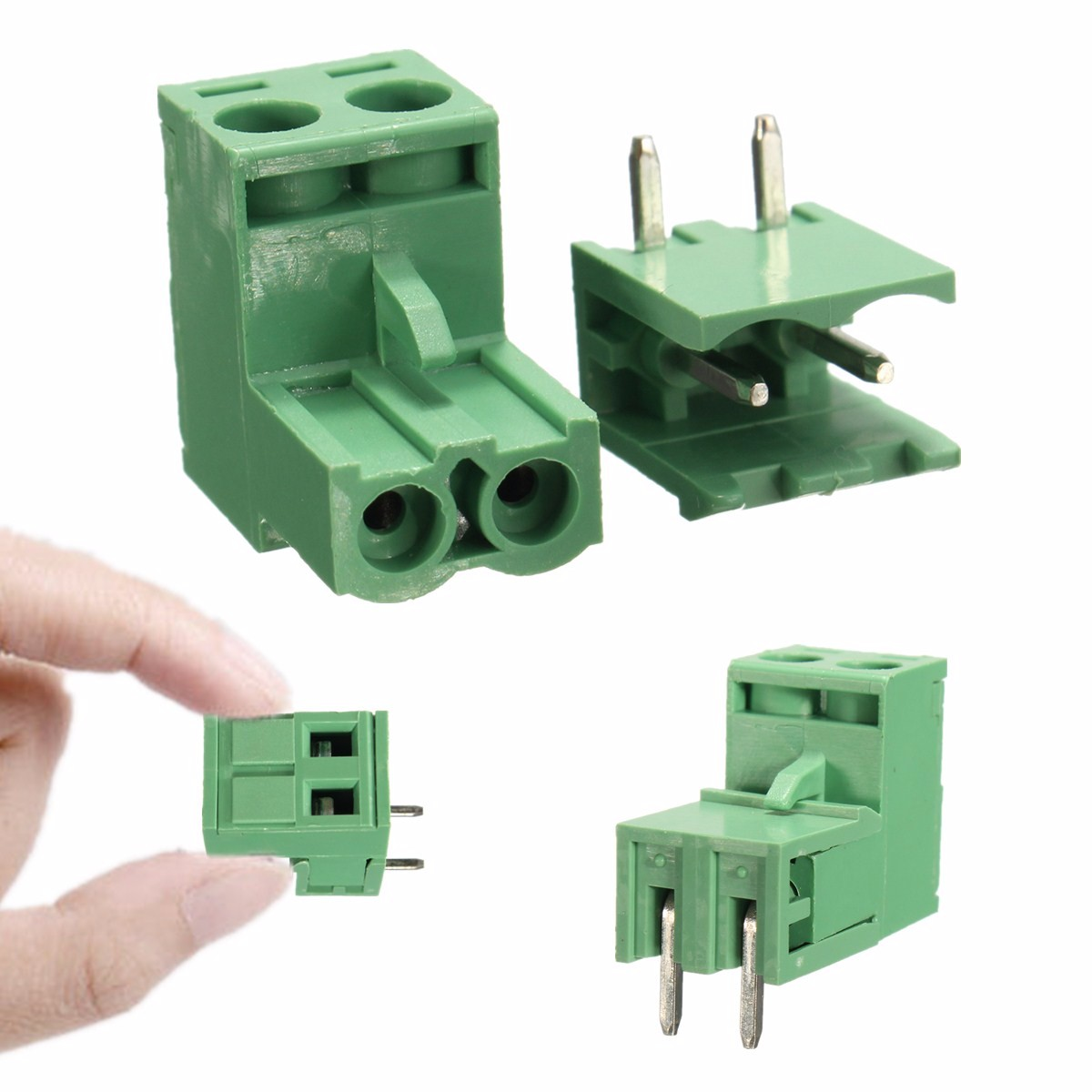 LEORY 5.08mm Pitch 2Pin Plug In Screw PCB Dupont Cable Terminal Block Connector Right Angle
