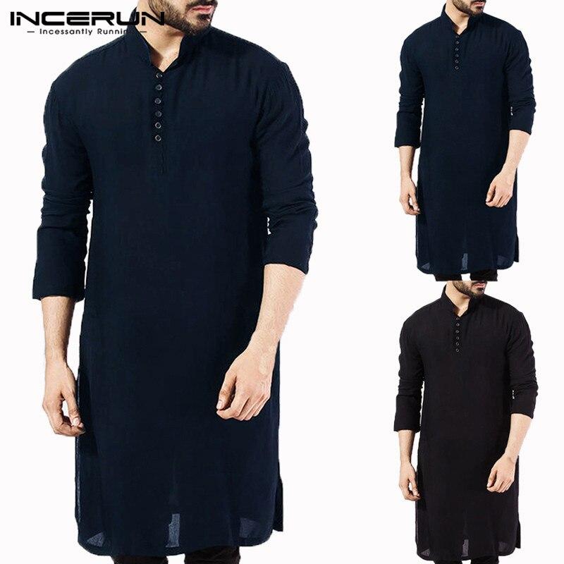 4783e86c64 2019 elegante Kurta camisa de manga larga de los hombres mandarín Collar  vestido Kurta islámica camisa traje de Hombre indio ropa musulmana Hombre