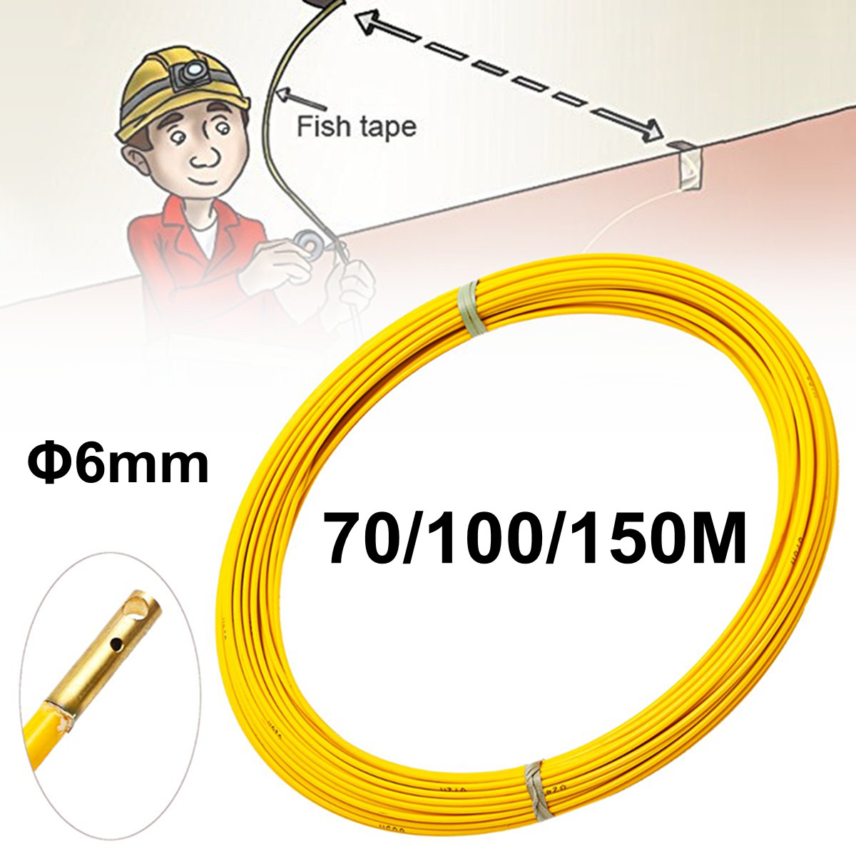 Fiberglass Cable Puller Wire Fish Tape Conduit Duct Rodder Yellow Electrical Equipment Wiring Accessories 6mm 70/100/150mFiberglass Cable Puller Wire Fish Tape Conduit Duct Rodder Yellow Electrical Equipment Wiring Accessories 6mm 70/100/150m