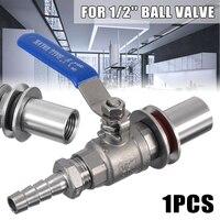 Mayitr Weldless Ball Valve Stainless steel 1/2 Barb Pipe Stainless Steel Weldless Compact Kettle Ball Valve Homebrew