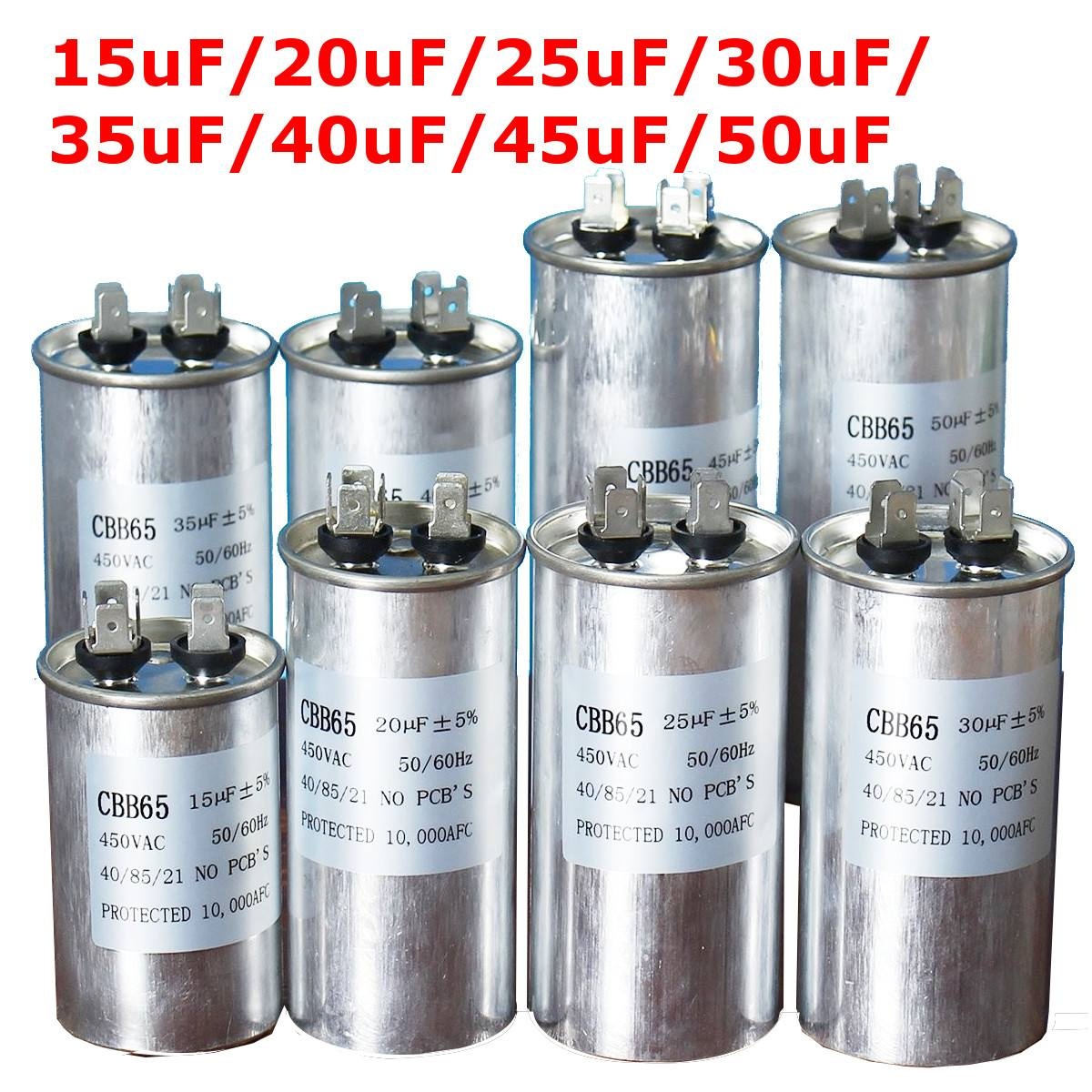 450V AC Motor Capacitor Air Conditioner Compressor Start Capacitor CBB65 15uF 20uF 25uF 30uF 35uF 40uF 45uF 50uF Air Conditionin