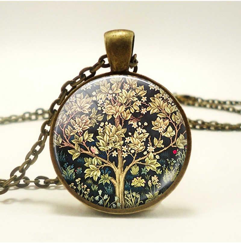 William Morris สร้อยคอ Vintage เครื่องประดับแก้ว Cabochon จี้ของขวัญ
