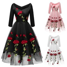 Vintage Rose Embroidery Mesh Midi Dress Casual V Neck Long Sleeve High Waist Swing Dress Retro Vestidos Black Lace Party Dress black swing long sleeve dress