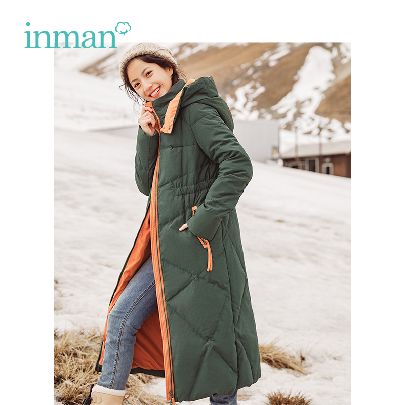 INMAN Winter New Arrival Hooded Warm Windproof Korean Slim Long Section Woman   Down     Coat