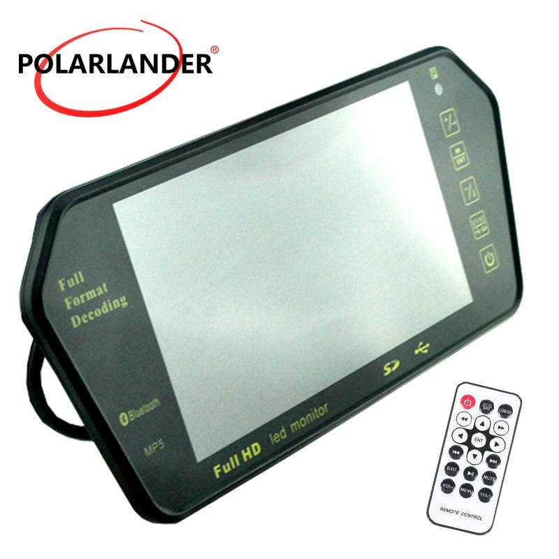 цена на 7 Inch LCD 1024x600 Bluetooth MP5 TF SD FM transmitter car rear view mirror monitor for rear camera reversing priority
