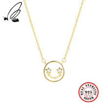 S925 Sterling Silver Star Smiley Face Pendant Necklace Short Clavicle Necklace Female Gold Silver Jewelry Colgantes Mujer Moda stylish smiley face lace choker necklace