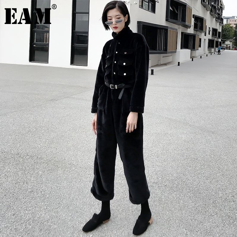 [EAM] 2019 New Spring Lapel Long Sleeve Black Single Breasted Loose Thick Warm Wide Leg   Jumpsuits   Women Fashion Tide JO052