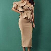 Elegant Evening Party Dress Women Sexy Bodycon Dress Solid One Shoulder Ruffles Short Sleeve Strapless Club Dress Vestidos