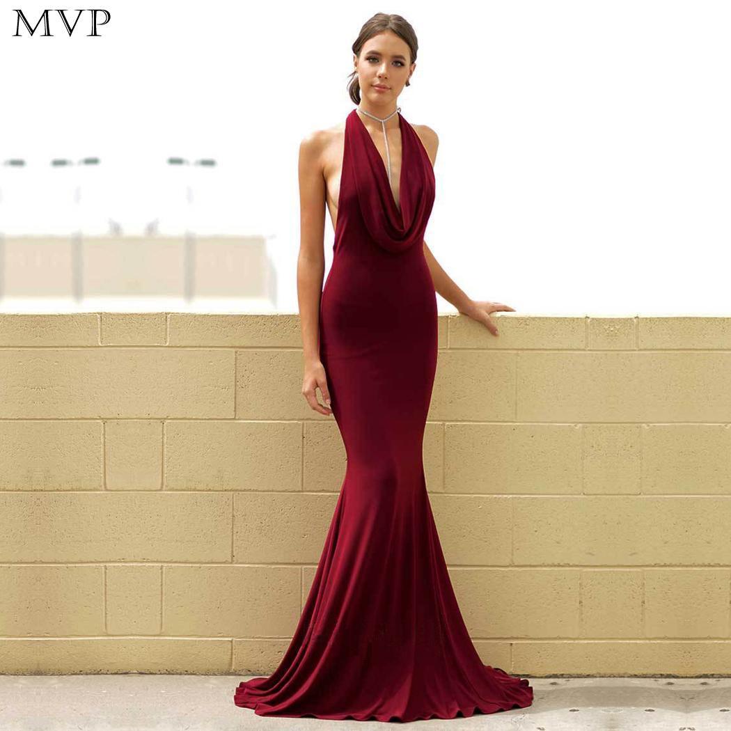 Женская мода без рукавов с открытой спиной однотонная тонкая вечерние, свадьба, выпускной и т. д. Холтер на молнии Вечернее платье полной дли...