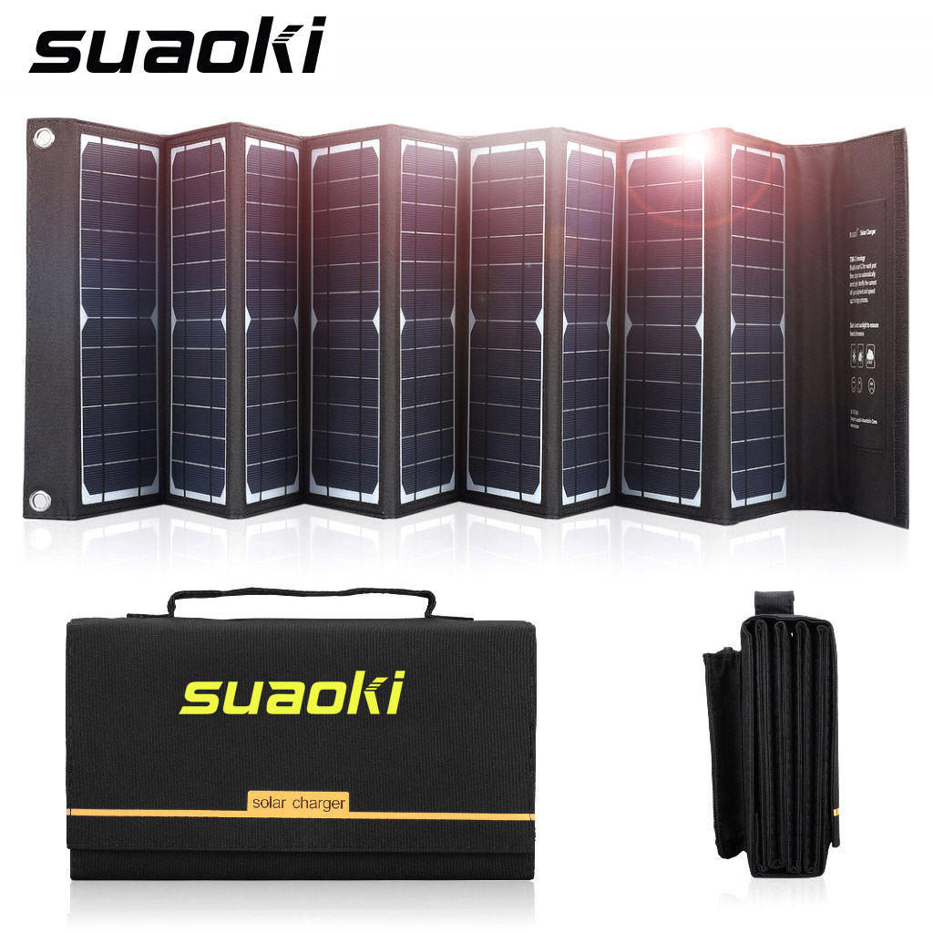 Suaoki 60W Solar Panel Charger High Efficiency 18V DC & 5V USB Output Portable Foldable Charger for Laptop Phone Power Supply|Solar Cells| |  - title=