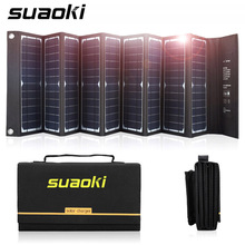 Suaoki 60W Solar Panel Charger Power Supply High Efficiency 18V DC 5V USB Output Portable Foldable Charger for Laptop Phone gbtiger 40w usb dc output solar panel foldable solar charger waterproof foldable emergency bag for laptop smartphone