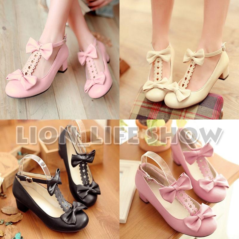 Women Girls Japanese Medium High Heel Lolita Shoes Cosplay Costume Shoes