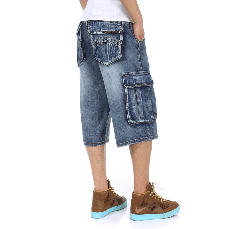 Image 4 - Mens Plus Size Loose Baggy Denim Short Men Jeans Fashion Streetwear Hip Hop Long 3/4 Capri Cargo Shorts Pocket Bermuda Male Blue-in Casual Shorts from Men's Clothing