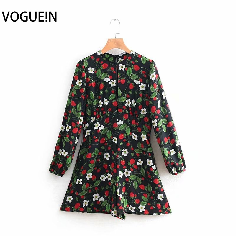 VOGUEIN New Womens Strawberry Floral Print Long Sleeve O-Neck Jumpsuit Playsuit Wholesale