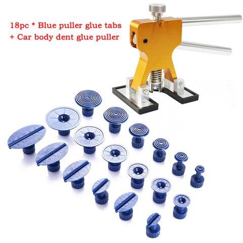 Ferramenta do Carro Ferramenta de Remoção Levantador + 18 Carro Dent Extrator Ferramentas Kits Paintless Repair Tool Denting Tabs Granizo Reparação
