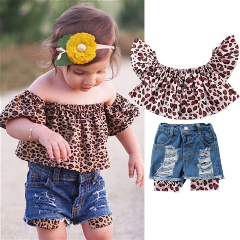 2Pcs Baby Kids Girls Clothing Off-the-shoulder Blouse Tops+Denim Shorts Outfits