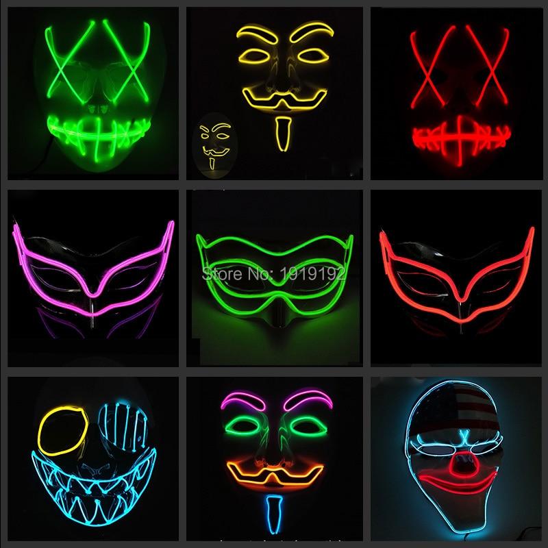 Új divat EL Cosplay Halloween rajzfilm bohóc maszk maszk fél éjszakai klub Dj maszkok 3V Steady On Driver