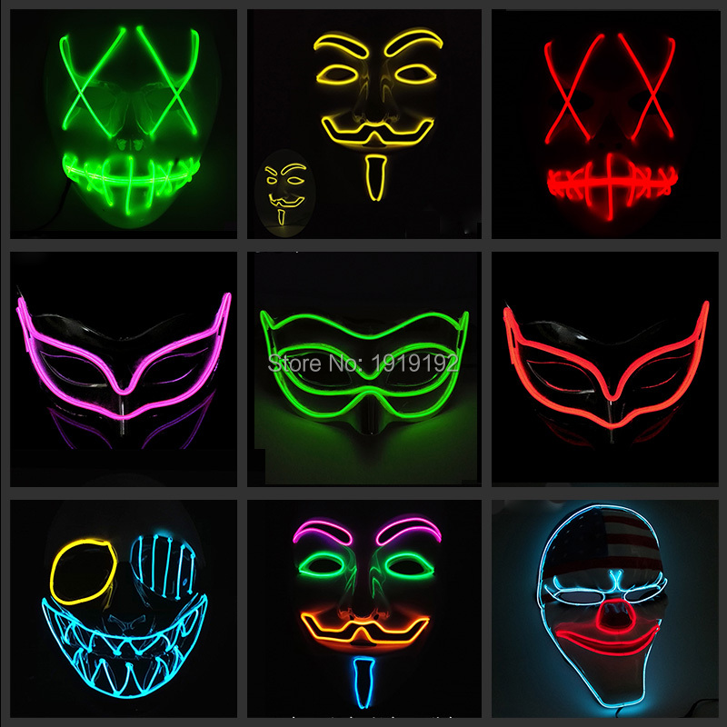 New Fashion EL Cosplay Halovīni Karikatūra Klauns Maska Maska Puse nakts klubs Dj Maskas By 3V Steady On Driver