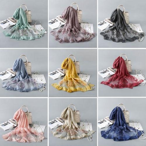 2019 FASHION Women Embroidery Cotton   Scarf     Wrap   Ladies Shawl Girls chiffon   Scarves