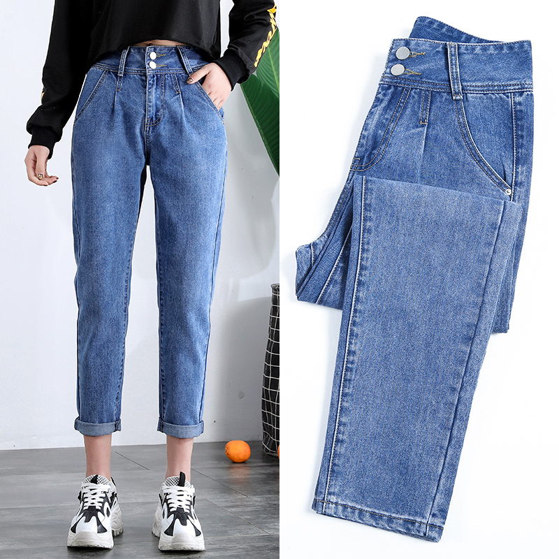 NIJIUDING 2019 Spring Autumn Plus Size Casual Style High Waist Ankle-Length Loose Straight   Jeans   For Women Pants