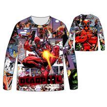 Hot  Marvel Comics Wade Winston Wilson T-shirt Men Tops Unisex Cosplay dress Long sleeve Deadpool T shirt Tees