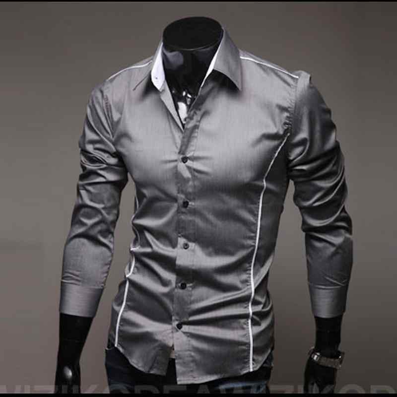 2019 남성용 고급 세련된 캐주얼 디자이너 엣지 파이핑 긴 소매 드레스 셔츠 근육 맞춤 셔츠 3 색 5902