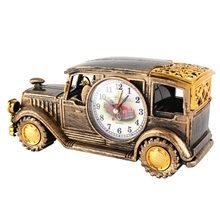 Multi-function Desk Alarm Clock Classical Vintage Car Alarm Clock Gift Pen Holder For Students Supplies