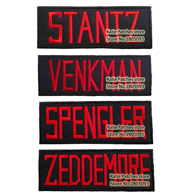 Ghostbuster Nametag STANTZ VENKMAN SPENGLER ZEDDEMORE  Iron on Patch, Movie Cartoon Embroidered Clothing Accessories DIY-in Patches from Home & Garden    1