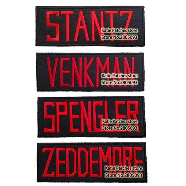 Ghostbuster Nametag STANTZ VENKMAN SPENGLER ZEDDEMORE żelaza na poprawki, film animowany haftowane odzież akcesoria DIY w Łatki od Dom i ogród na  Grupa 1