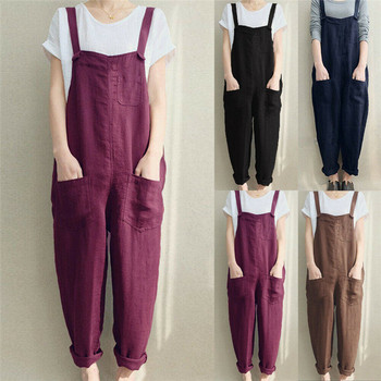 4XL Womens Sleeveless Dungarees Rompers Cotton Linen Jumpsuit Loose Preppy Style Pants Casual Pocket Overalls Playsuits 1