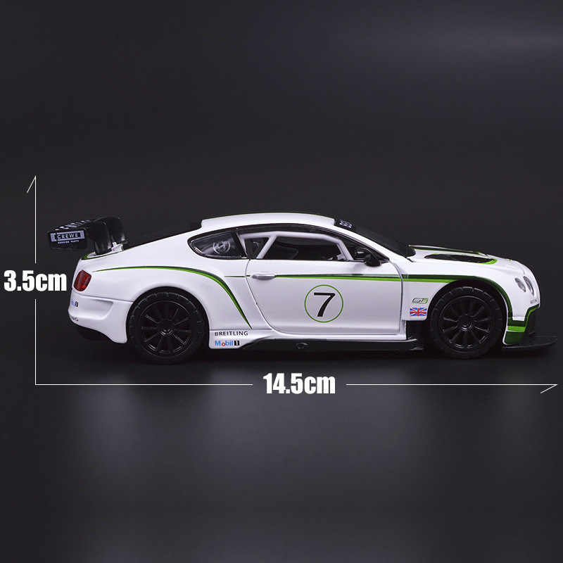 1:32 Bentley GT3 Super Balap Paduan Simulasi Mobil Diecast Suara Lampu Model Kendaraan Roda Panas untuk Anak-anak