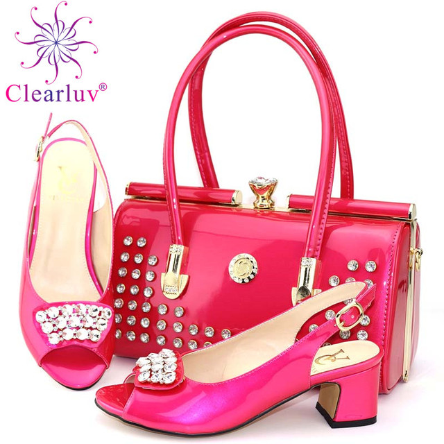 Latest Italian Shoes with Matching Bags Set Decorated with Appliques Women Shoes High Heel African Shoes and Bags Matching Se