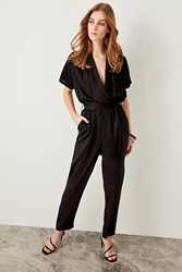 Trendyol Women Advanced V-neck Casual Linking Black Jumpsuits TWOSS19LJ0158