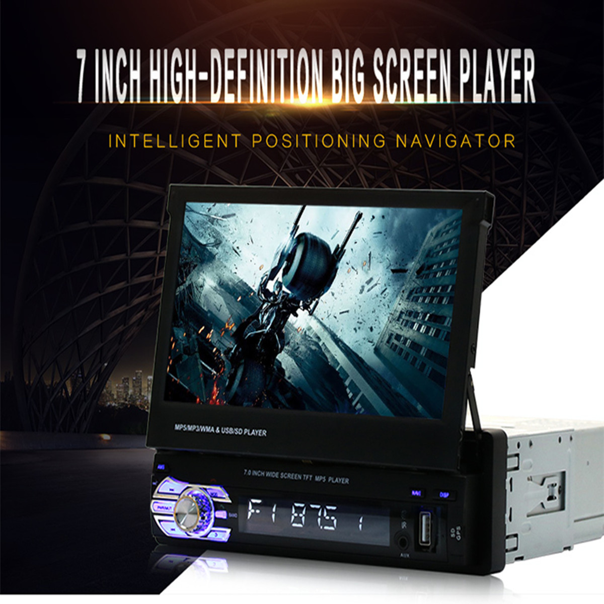 Universal Car GPS Navi Single 1 Din 7 Inch HD Touchs Screen DVD/CD/MP3/MP5 Player Bluetooth GPS Navigation+Camera