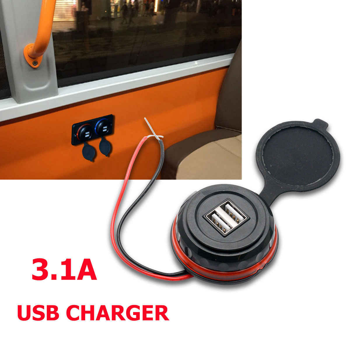 3.1A Dual USB Car Charger 2 Port Adapter 12V Power Socket Charging Panel Mount