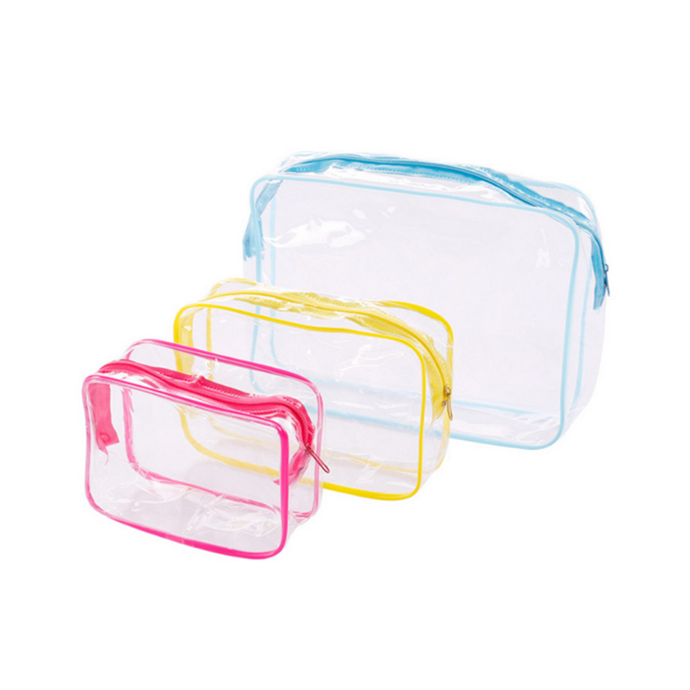 Portable Transparent Thicken PVC Cosmetic Bags Set Clear Waterproof Travel Toiletry Makeup Bags Storage Organizer Beauty Cases image