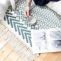 Nordic Cotton tkane dywan frędzle dywan do sypialni narzuta mata prosta nowoczesna stołowa Runner mata kuchenna 60x90cm Home Decoration w Dywany od Dom i ogród na