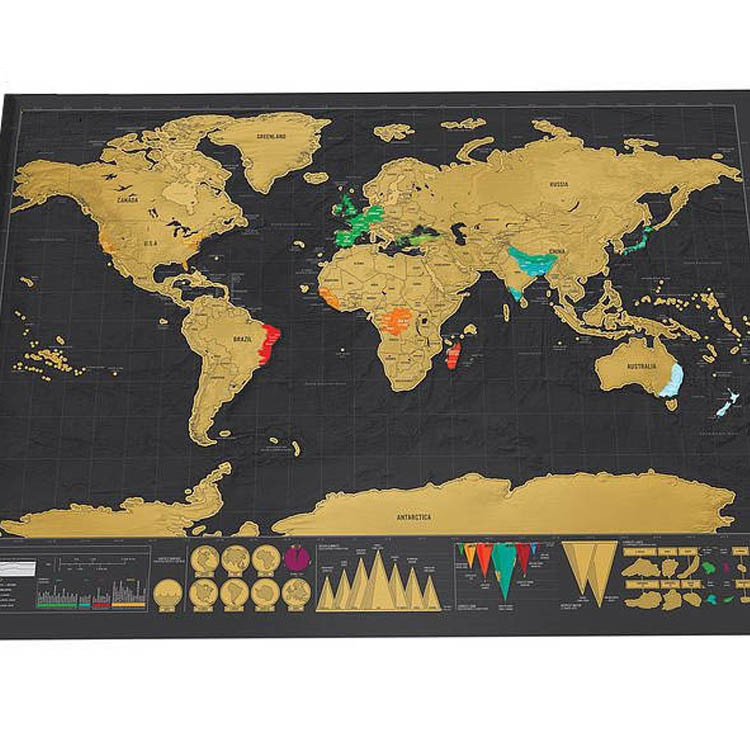 Deluxe Black Scratch off Map World Map Best Decor 42x30cm image
