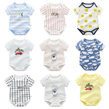 100% Cotton Newborn Baby Boy Girl Jumpsuit Toddler Summer Short-sleeved Cartoon Romper Infant Baby Clothing недорого