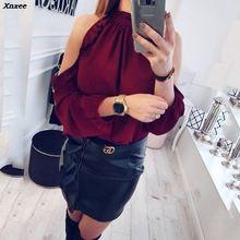 купить Fashion Women Casual Blouse Shirt 2019 Spring Summer Sexy Open Shoulder Ruffle Long Sleeve Ladies Tops Blouses feminine Blouse дешево