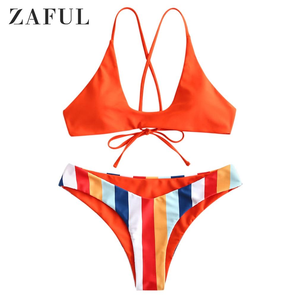 b109685f70 ZAFUL Bikini Striped Print Swimwear Women Push Up Swimsuit Padded Biquini  Tie Back Bikinis Pink Bathing
