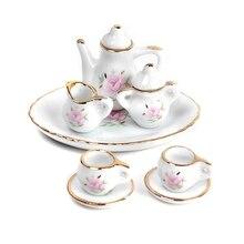 8 pcs. Dollhouse miniature restaurants goods porcelain tea set plate cup plate flower print porcelain print fit