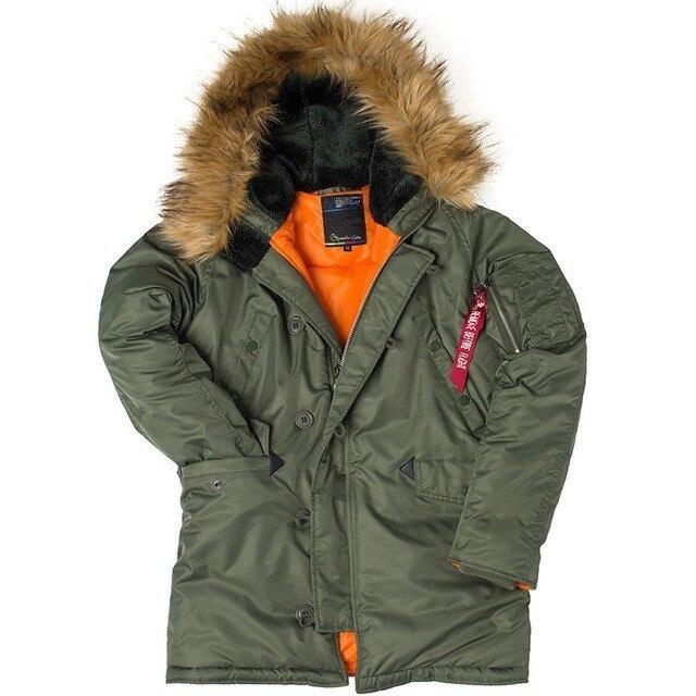 Hommes polaire hiver vêtements slim Fit USA vol Parka chaud thermique longue veste à capuche fourrure col coton épais bomber manteau A9128