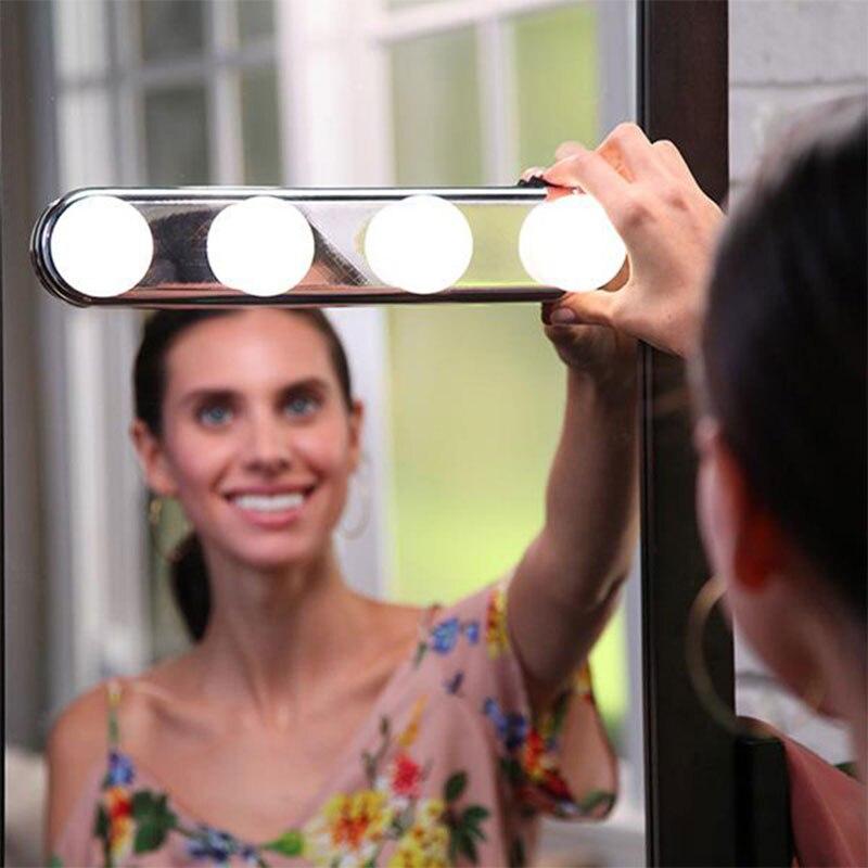Tragbare LED Spiegel Licht Hollywood 4 Birne Make-Up Spiegel Nacht Licht Eitelkeit Licht Scheinwerfer Einfach Installiert Make-Up Lampe CF781