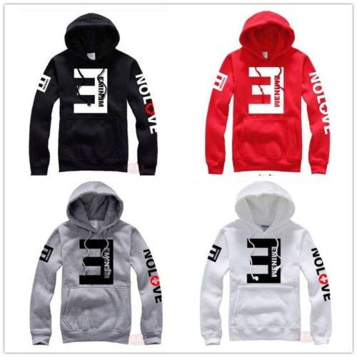2018 Arrival Men Hoodies Fleece Eminem Printed Letter Thicken Long Sleeve Pullover Hooded Sweatshirt Pocket Plus Size M-XXXL