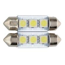 New-2x C5W 3 светодиодный SMD 5050 36 мм ксеноновая белая лампочка пластина челнок фестоны купол потолочный светильник автомобильный светильник