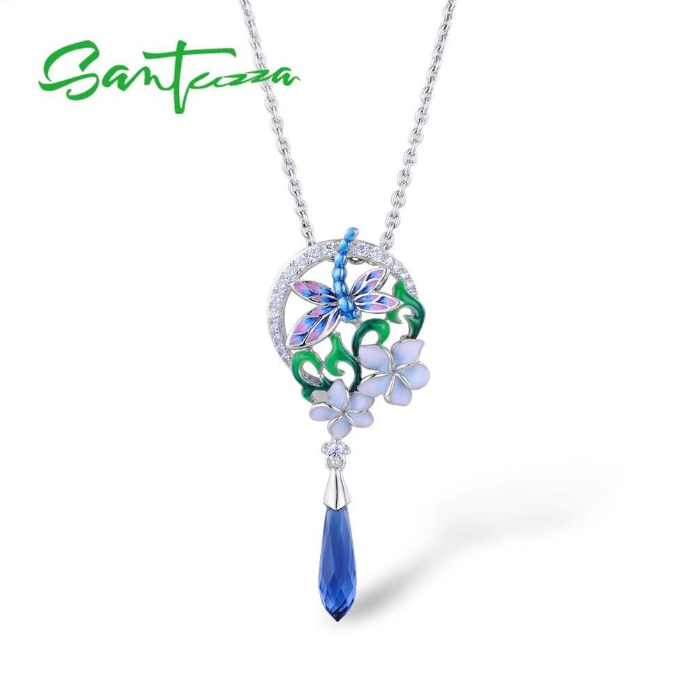 Image 2 - SANTUZZA Silver Pendants For Women 925 Sterling Silver Flower Dragonfly Pendant fit for Slide Necklaces Pendant Handmade EnamelPendants   -