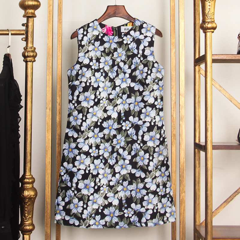 2019 Spring Vintage Women Floral Print Sarafan Mini Dress Runway Designer Sleeveless Female Party A Line